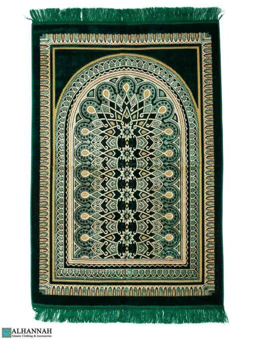 Prayer Rug with Geometric Symmetry Design - Emerald