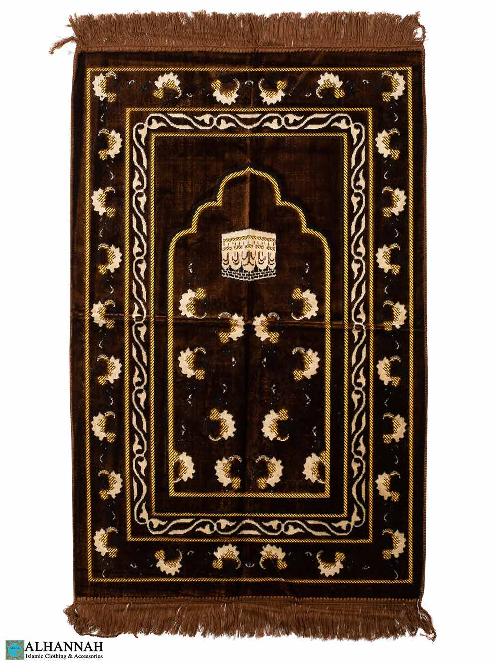Prayer Rug with Kaaba Motif - Brown
