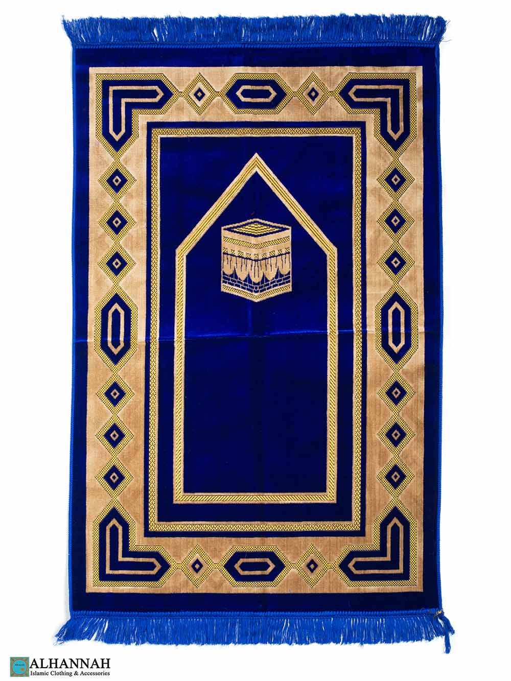Prayer Rug with Kaaba in Royal Blue