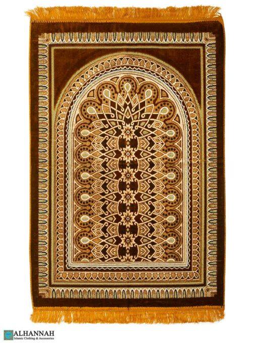 Prayer Rug with Geometric Symmetry Design – Gold