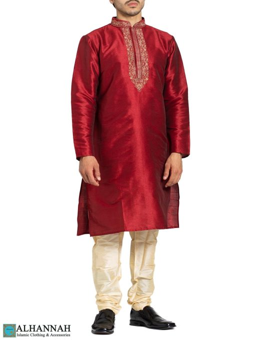 Red Ethnic Embroidered Kurta Pajama me831