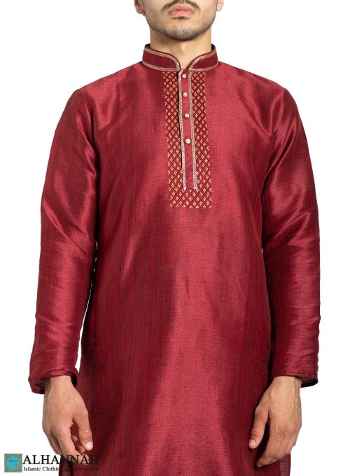 Red & Gold Diamond Checkered Embroidered Kurta Pajama me829