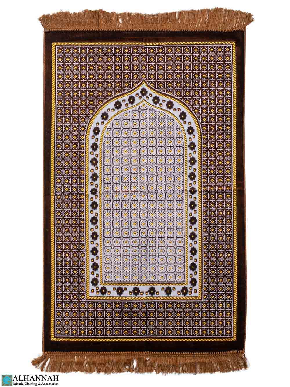 Turkish Prayer Rug – Geometric Design - Brown
