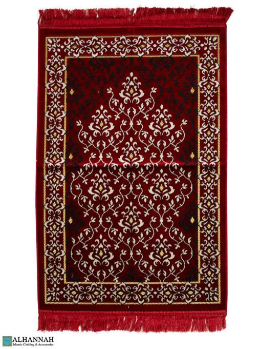 Turkish Prayer Rug Damask Design in Red
