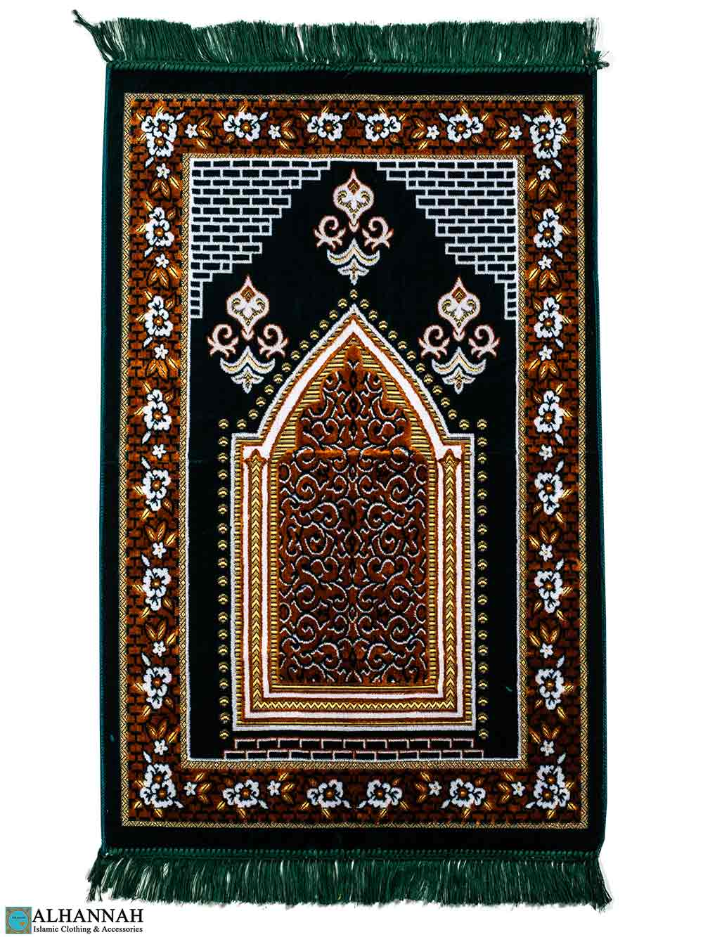 Turkish Prayer Rug Floral Border in Green
