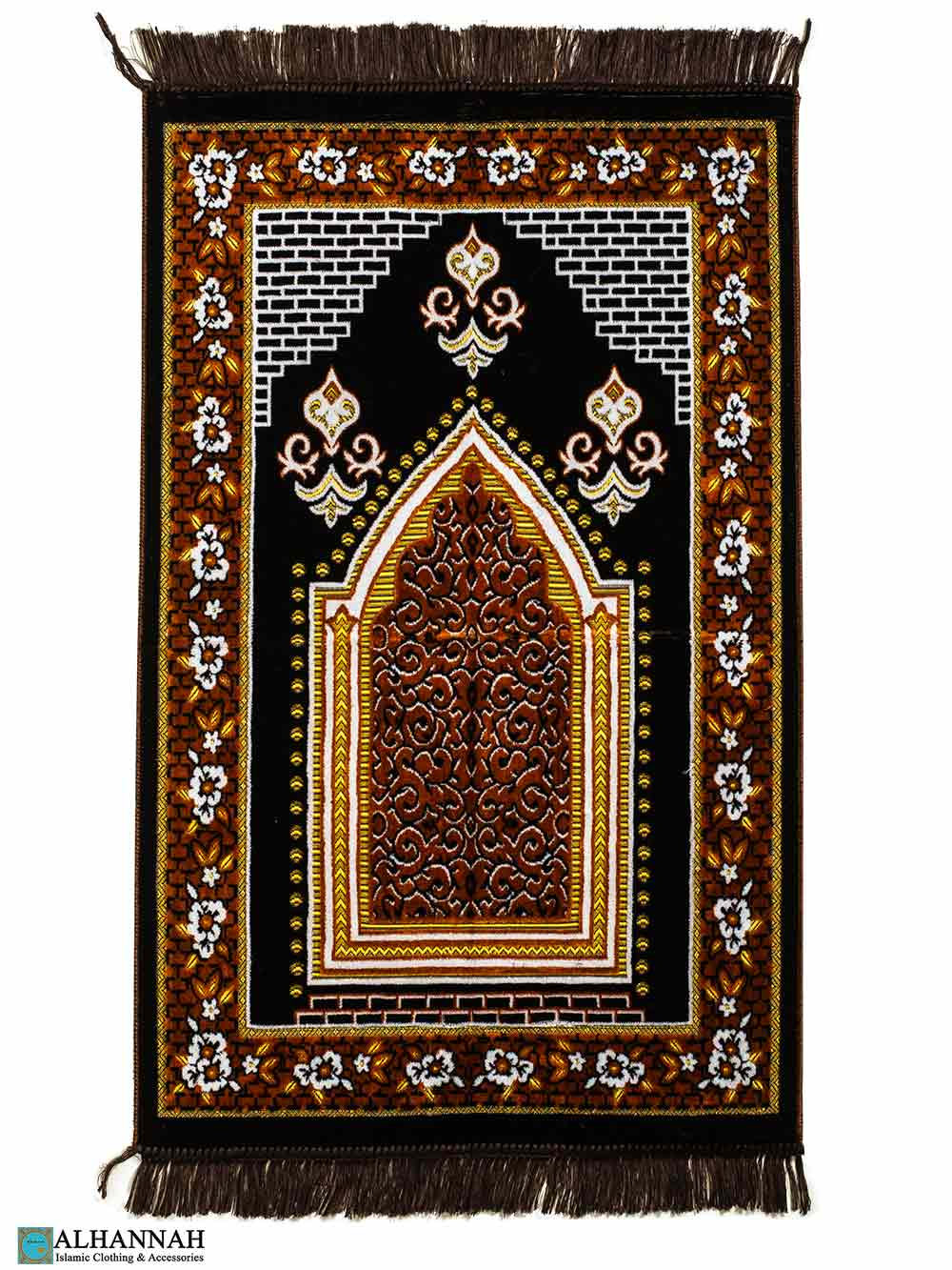 Turkish Prayer Rug Foliage Boarder - Brown
