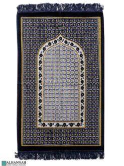Turkish Prayer Rug Geometric Design - Navy