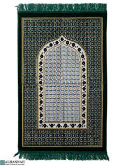 Turkish Prayer Rug with Geometric Design - Emerald