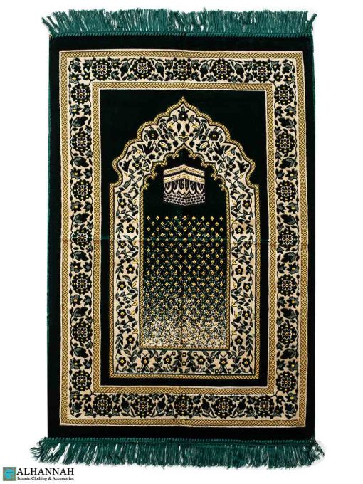 Turkish Prayer Rug with Kaaba Motif - Emerald