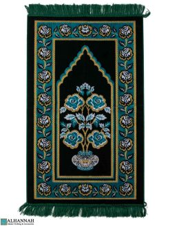 Turkish Prayer Rug with Rose Vase Motif - Green