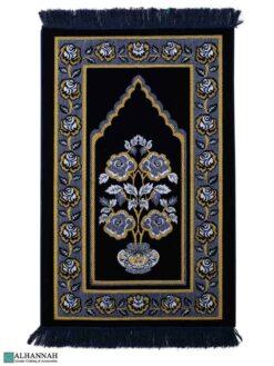Turkish Prayer Rug with Rose Vase Motif - Navy
