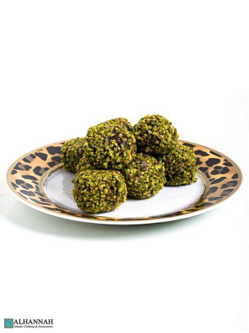 Antep Fistikli Atom - Pistachio Balls Served on Plate