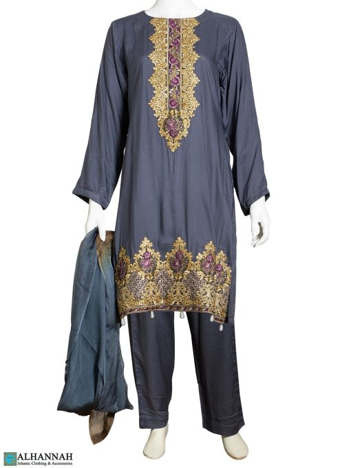 Embroidered Salwar Kameez Grey