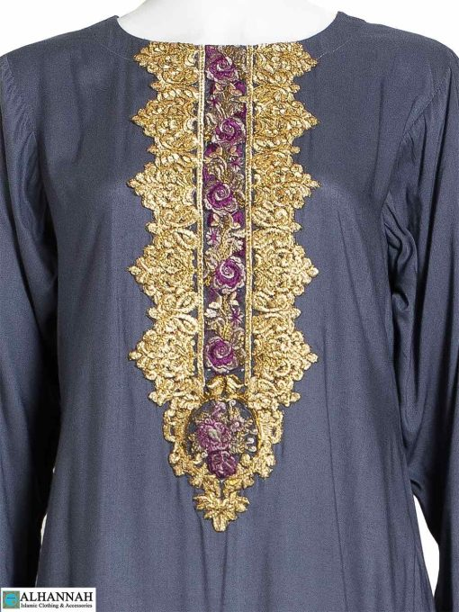 Embroidered Salwar Kameez Grey - Closeup