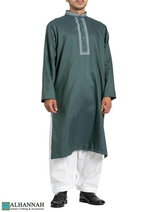 Mens 2 Tone Salwar Kameez Close up - Aqua