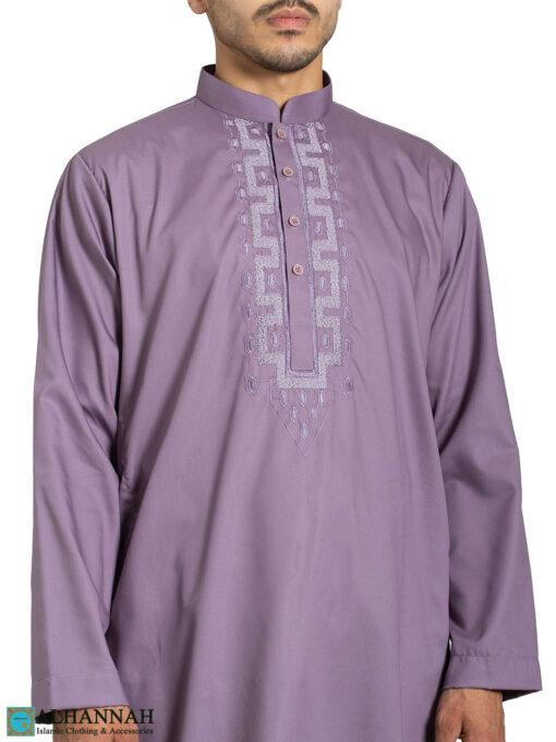 Mens Embroidered Salwar Kameez - Slate Closeup