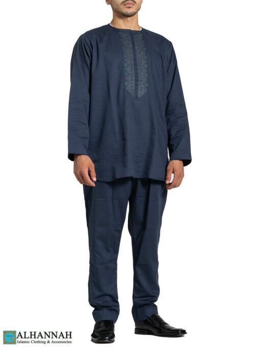 Mens Salwar Kameez with Short Kurta - Persian Blue