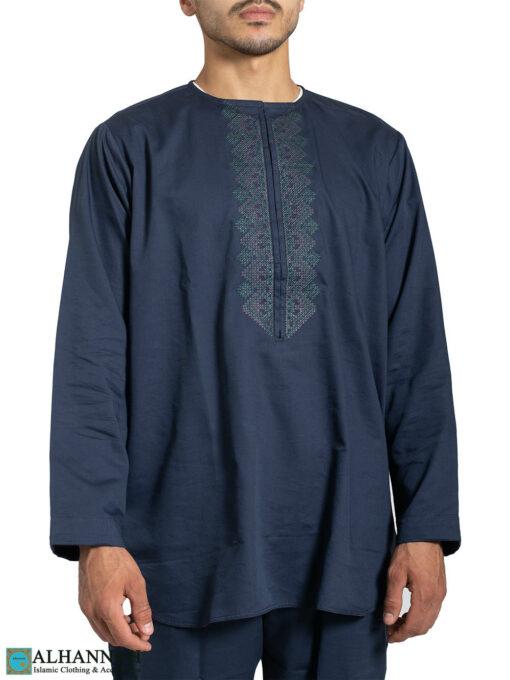 Mens Salwar Kameez with Short Kurta - Persian Blue - Closeup