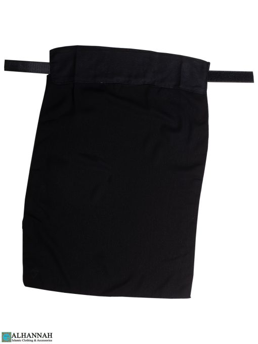 One Layer Niqab with Velcro Fastener - Black