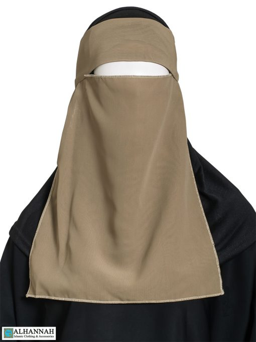 One Layer Niqab with Velcro Fastener - Tan