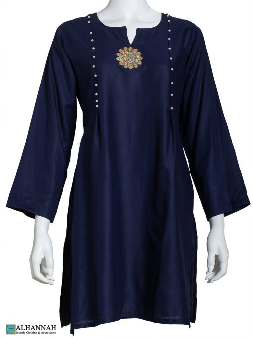 Pintucked Floral Applique Tunic