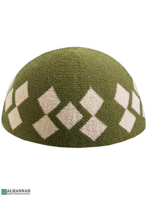 Argyle Pattern Kufi Cap - Pine