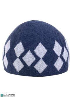 Argyle Pattern Kufi Hat - Persian Blue