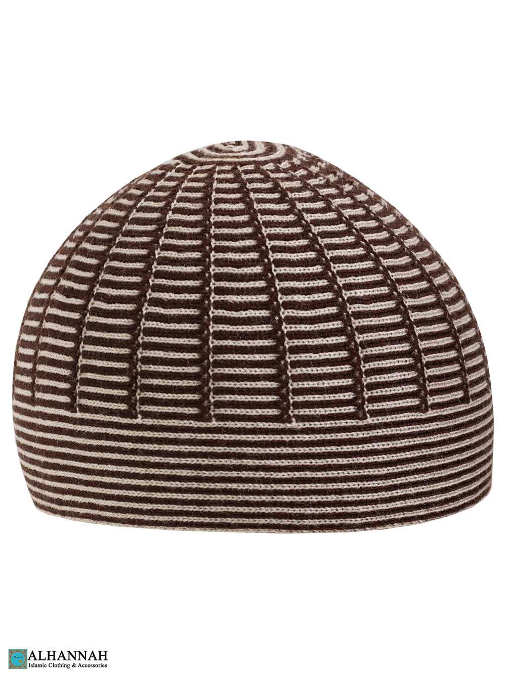Brown Striped Turkish Kufi Hat