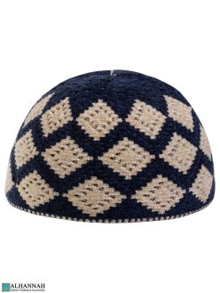 Diamond Pattern Kufi Hat - Navy
