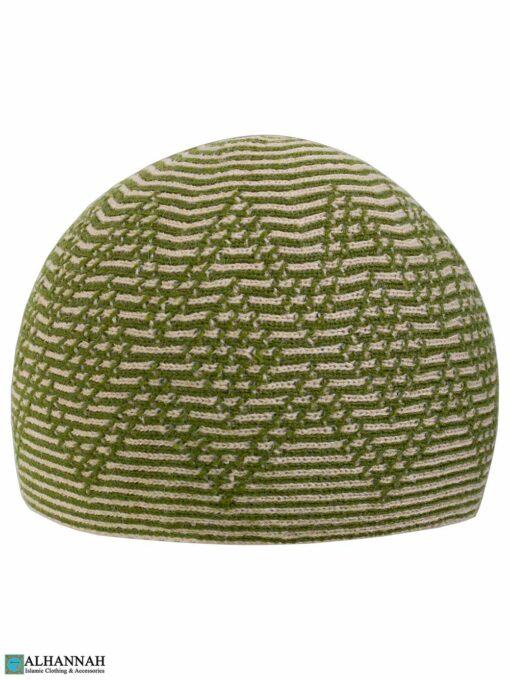 Diamond striped Turkish Kufi Hat - Pine