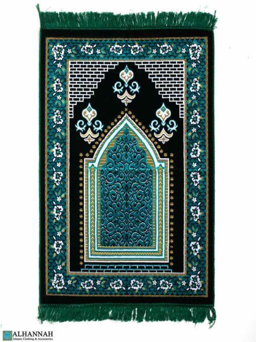 Turkish Prayer Rug – Floral Border in Aqua