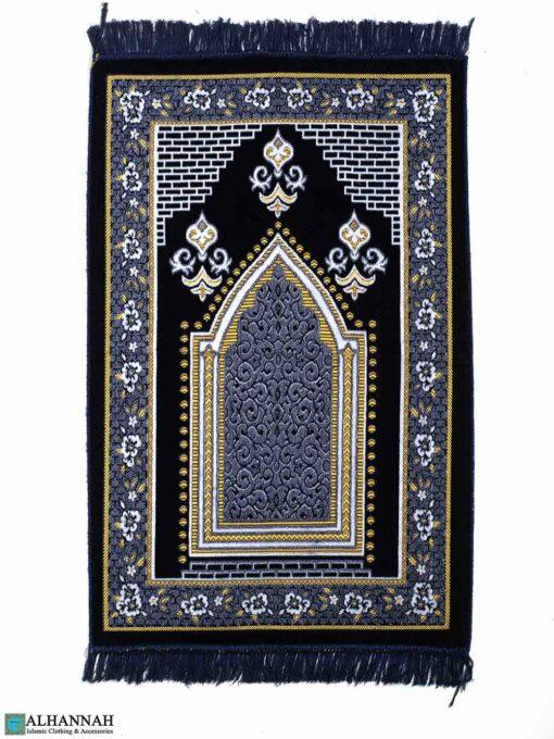 Turkish Prayer Rug – Floral Border in Blue & White