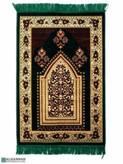 Turkish Prayer Rug – Floral Border in Green & Tan