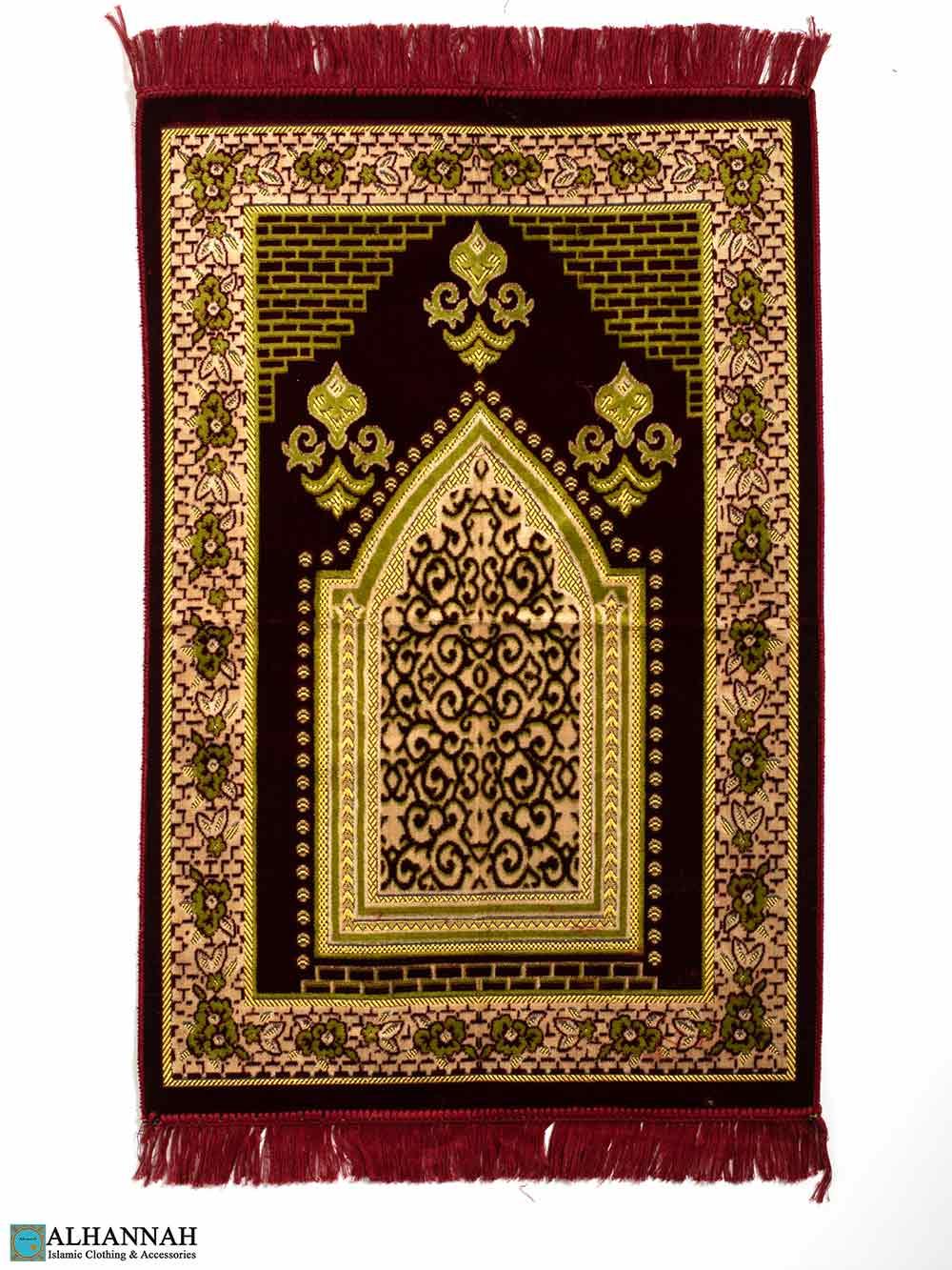 Turkish Prayer Rug – Floral Border in Red & Olive