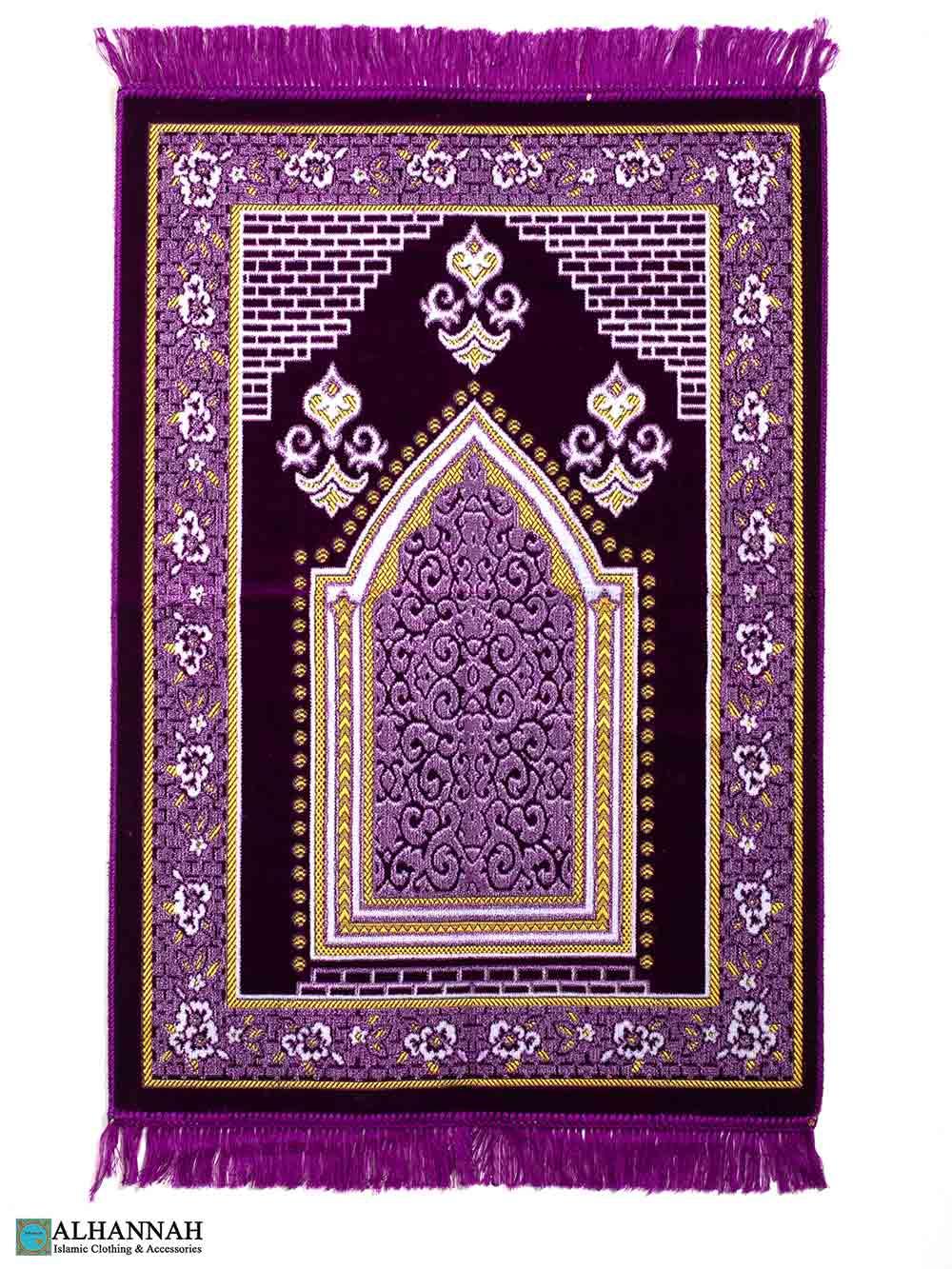 Turkish Prayer Rug – Floral Border in Violet
