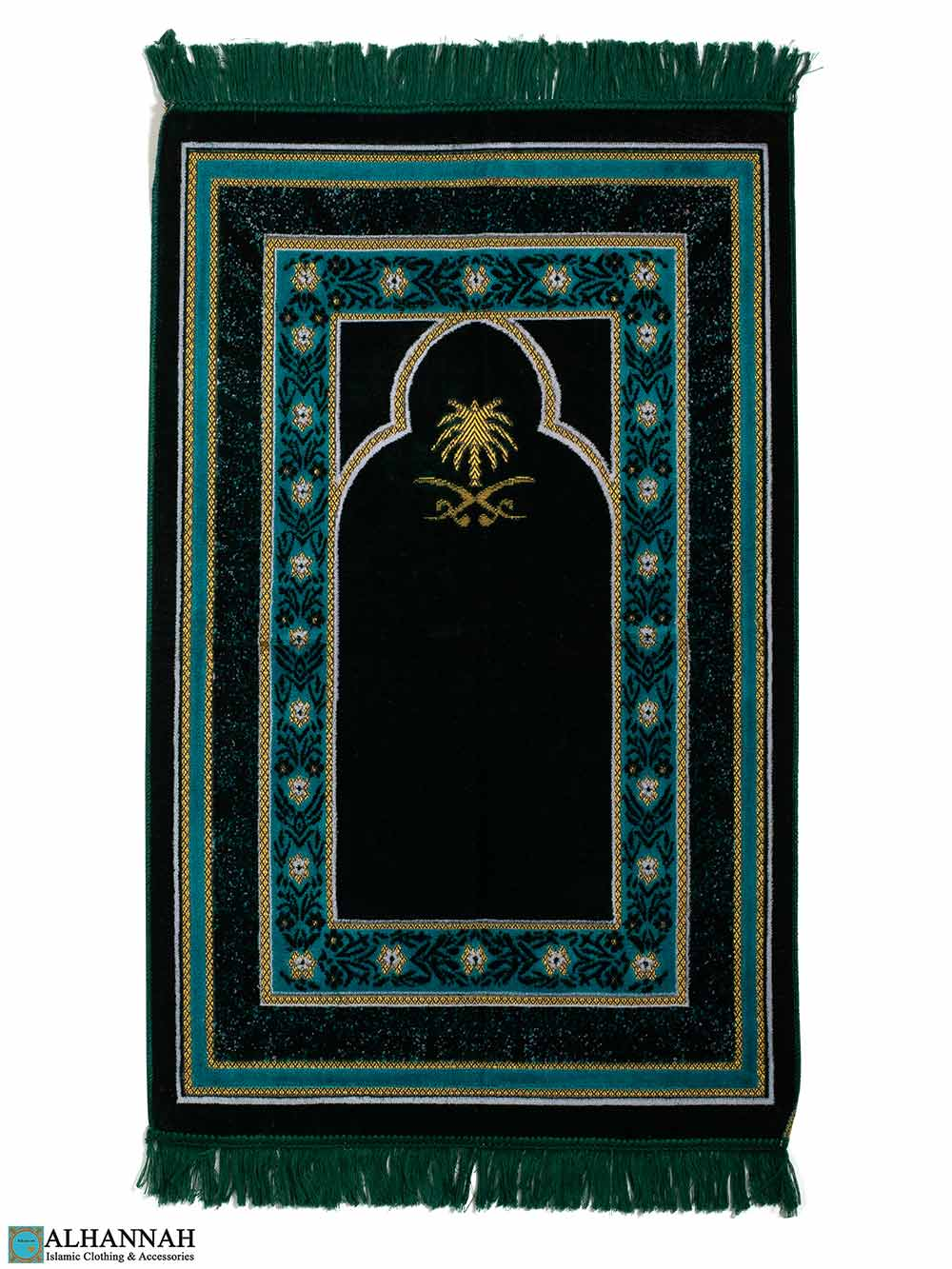 Turkish Prayer Rug with Hijaz Sword Motif - Green