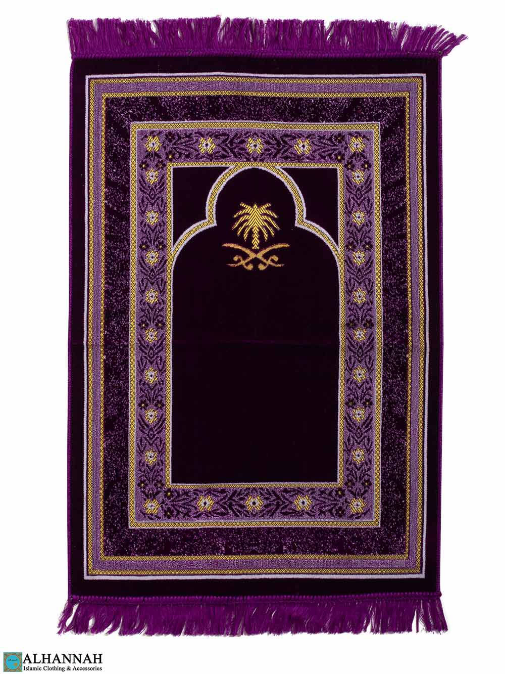 Turkish Prayer Rug with Hijaz Swords & Palm - Purple