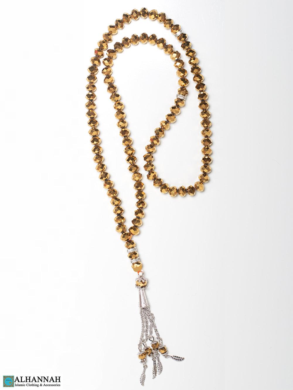 Metallic Crystal Prayer Beads 99 Beads Gold Tone