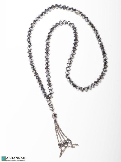 Metallic Crystal Prayer Beads- 99 Beads in Silver